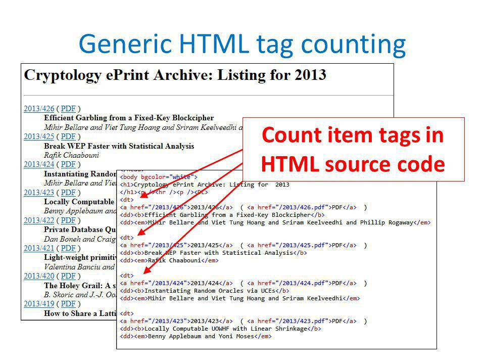 Generic HTML tag counting Count item tags in HTML source code