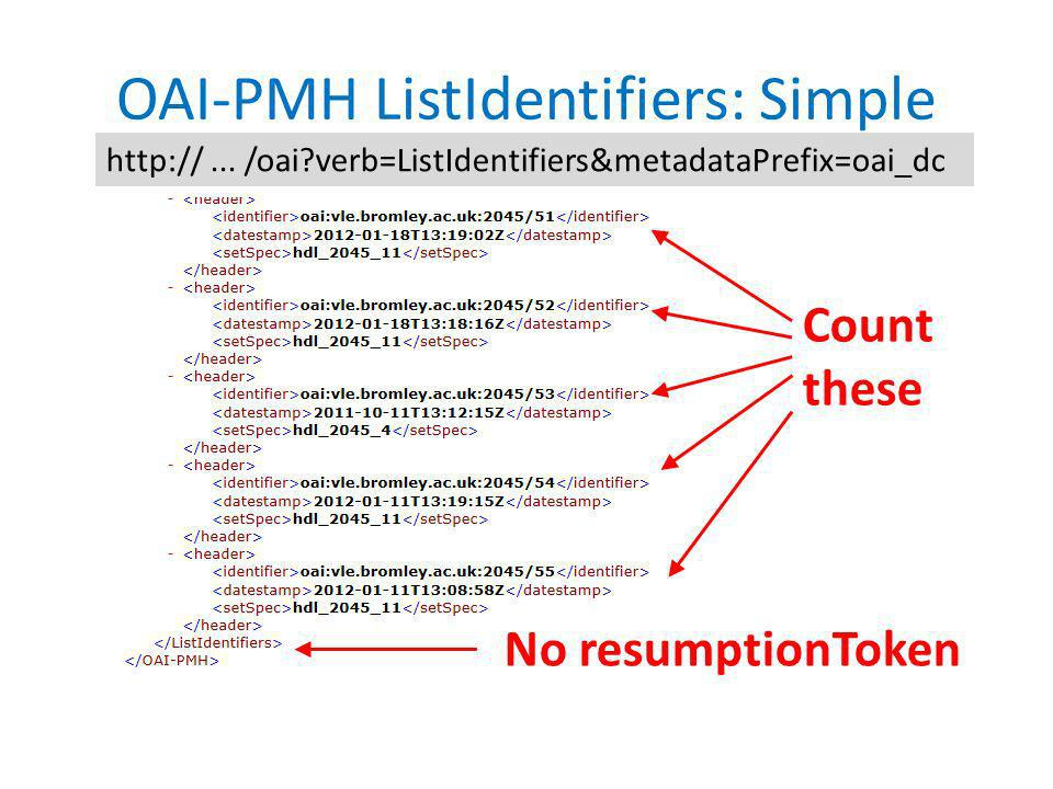 OAI-PMH ListIdentifiers: Simple http://...