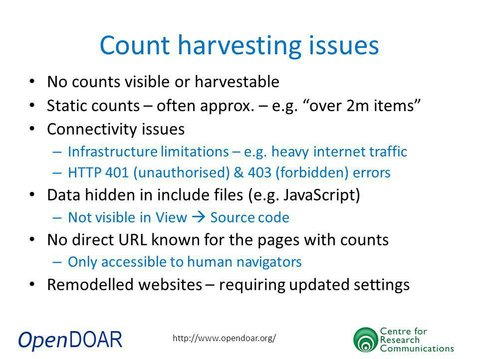 http://www.opendoar.org/ Count harvesting issues No counts visible or harvestable Static counts – often approx.