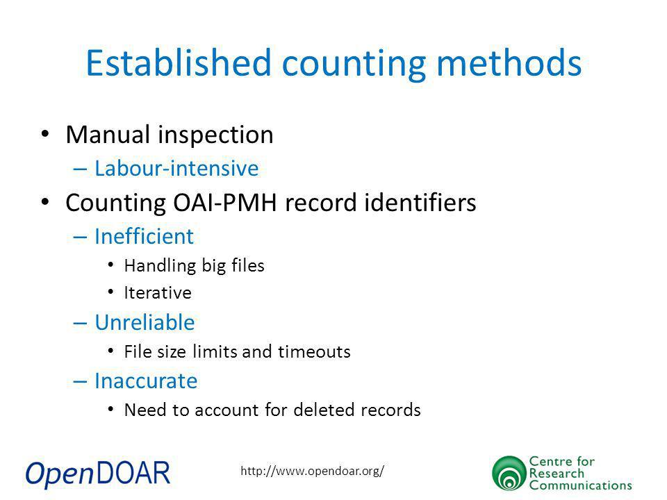 http://www.opendoar.org/ Established counting methods Manual inspection – Labour-intensive Counting OAI-PMH record identifiers – Inefficient Handling big files Iterative – Unreliable File size limits and timeouts – Inaccurate Need to account for deleted records