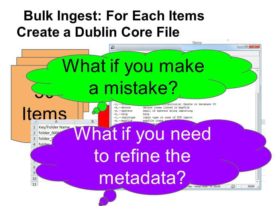 Bulk Ingest: For Each Items Create a Dublin Core File 50 Items.TXT.PDF.XML What if you make a mistake.