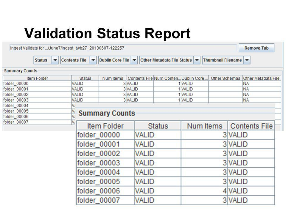 Validation Status Report