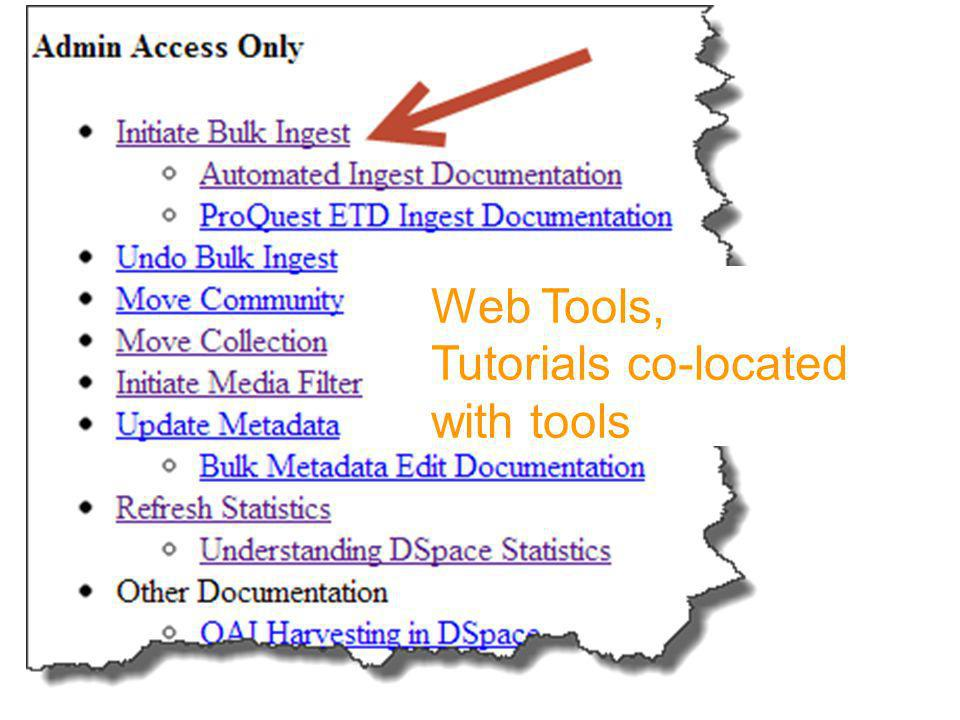 Web Tools, Tutorials co-located with tools