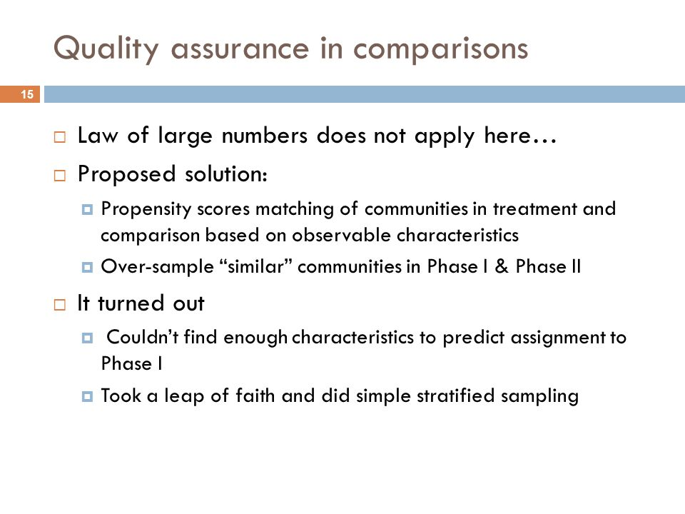 15 Quality assurance in comparisons Law of large numbers does not apply here… Proposed solution: Propensity scores matching of communities in treatment and comparison based on observable characteristics Over-sample similar communities in Phase I & Phase II It turned out Couldnt find enough characteristics to predict assignment to Phase I Took a leap of faith and did simple stratified sampling
