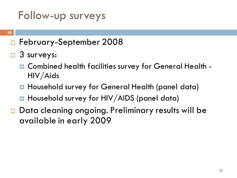 19 Follow-up surveys February-September 2008 3 surveys: Combined health facilities survey for General Health - HIV/Aids Household survey for General H