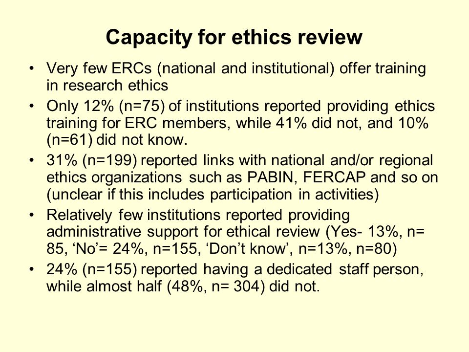 Capacity for ethics review Very few ERCs (national and institutional) offer training in research ethics Only 12% (n=75) of institutions reported providing ethics training for ERC members, while 41% did not, and 10% (n=61) did not know.
