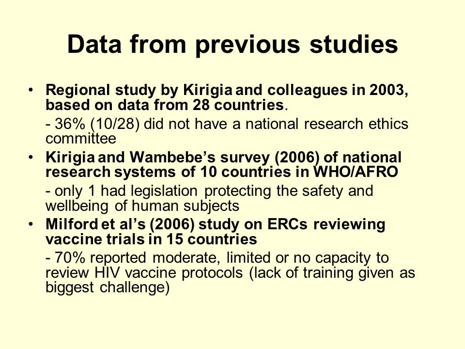 Data from previous studies Regional study by Kirigia and colleagues in 2003, based on data from 28 countries.