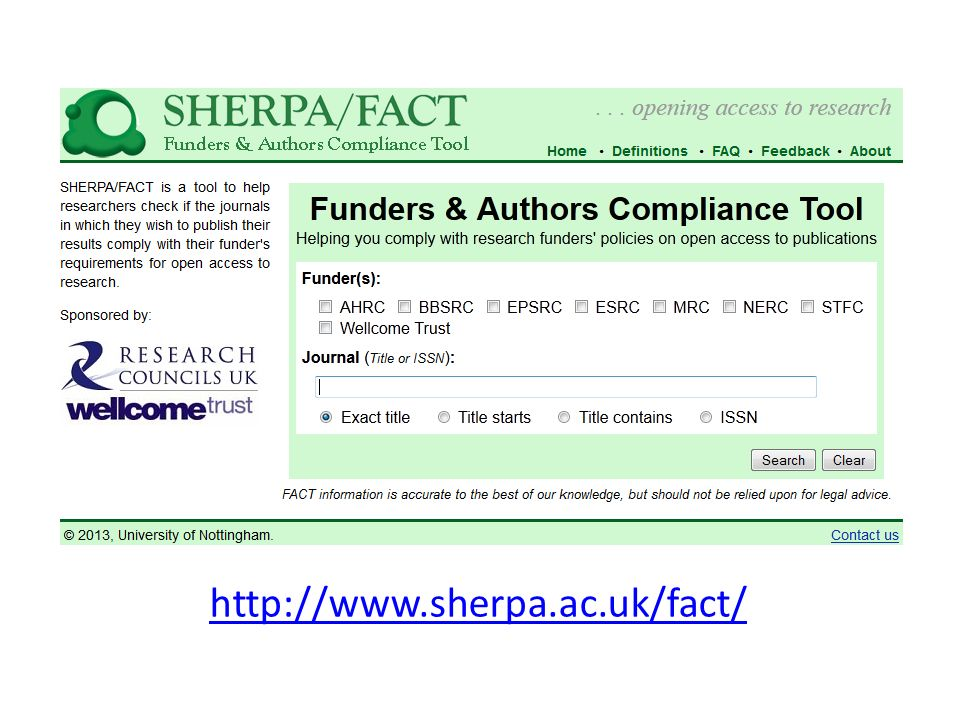 http://www.sherpa.ac.uk/fact/