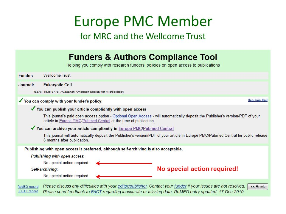 Europe PMC Member for MRC and the Wellcome Trust No special action required!
