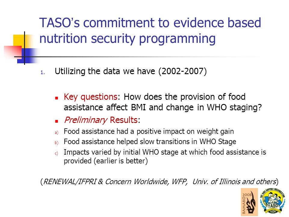 TASO s commitment to evidence based nutrition security programming 1.