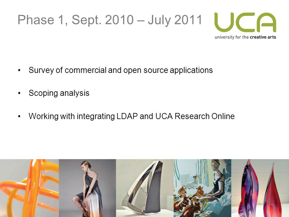 Phase 1, Sept. 2010 – July 2011 Survey of commercial and open source applications Scoping analysis Working with integrating LDAP and UCA Research Onli