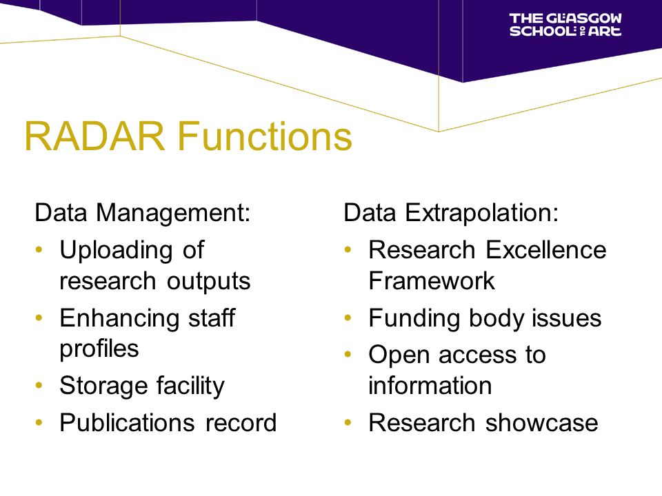 RADAR Functions Data Management: Uploading of research outputs Enhancing staff profiles Storage facility Publications record Data Extrapolation: Research Excellence Framework Funding body issues Open access to information Research showcase