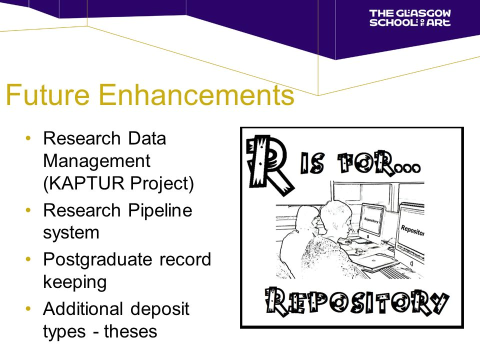 Future Enhancements Research Data Management (KAPTUR Project) Research Pipeline system Postgraduate record keeping Additional deposit types - theses