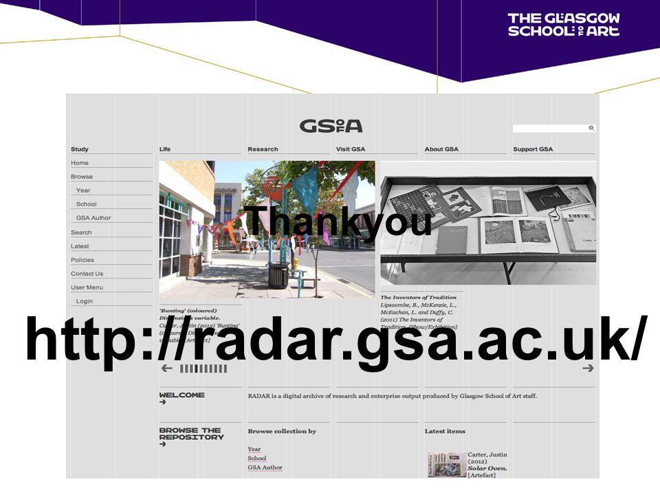 http://radar.gsa.ac.uk/ Thankyou