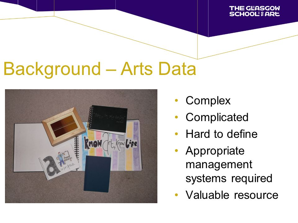 Background – Arts Data Complex Complicated Hard to define Appropriate management systems required Valuable resource
