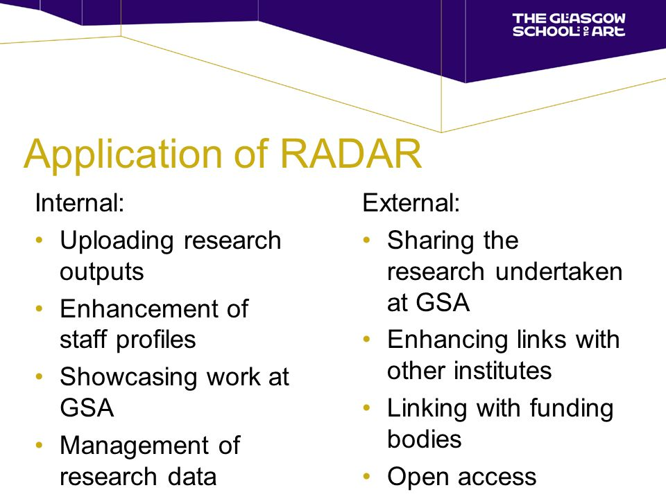 Application of RADAR Internal: Uploading research outputs Enhancement of staff profiles Showcasing work at GSA Management of research data External: Sharing the research undertaken at GSA Enhancing links with other institutes Linking with funding bodies Open access