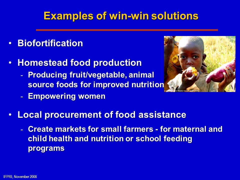 IFPRI, November 2008 Examples of win-win solutions BiofortificationBiofortification Homestead food productionHomestead food production - Producing fruit/vegetable, animal source foods for improved nutrition - Empowering women Local procurement of food assistanceLocal procurement of food assistance - Create markets for small farmers - for maternal and child health and nutrition or school feeding programs