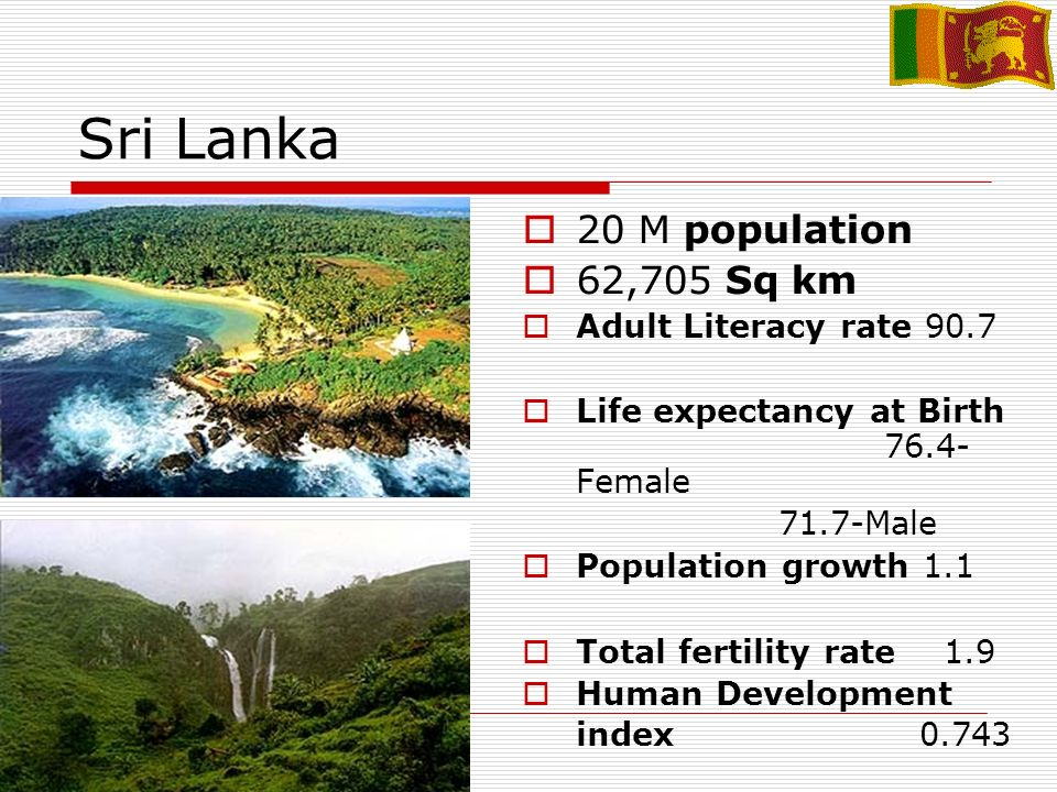 Sri Lanka 20 M population 62,705 Sq km Adult Literacy rate 90.7 Life expectancy at Birth 76.4- Female 71.7-Male Population growth 1.1 Total fertility rate 1.9 Human Development index 0.743