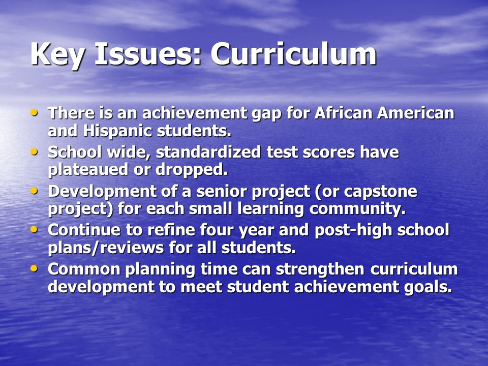 Key Issues: Curriculum There is an achievement gap for African American and Hispanic students.