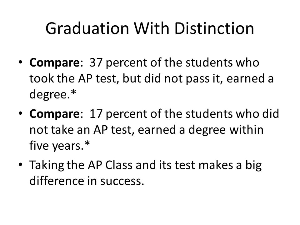 Graduation With Distinction Compare: 37 percent of the students who took the AP test, but did not pass it, earned a degree.* Compare: 17 percent of the students who did not take an AP test, earned a degree within five years.* Taking the AP Class and its test makes a big difference in success.
