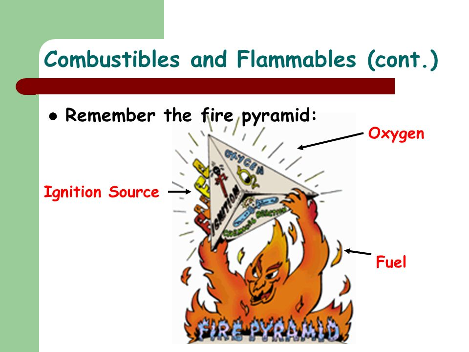 Fuel Oxygen Ignition Source Remember the fire pyramid: Combustibles and Flammables (cont.)