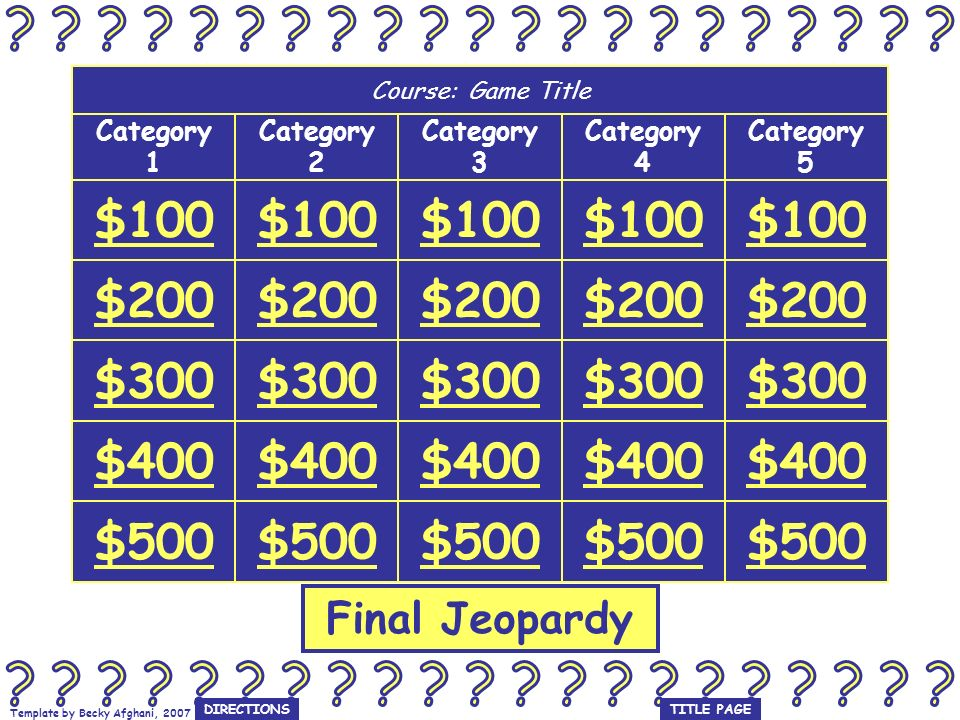 Template by Becky Afghani, 2007 Category 3 $100 Question Answer GAME BOARD Use space bar or right arrow on keyboard to see answer.