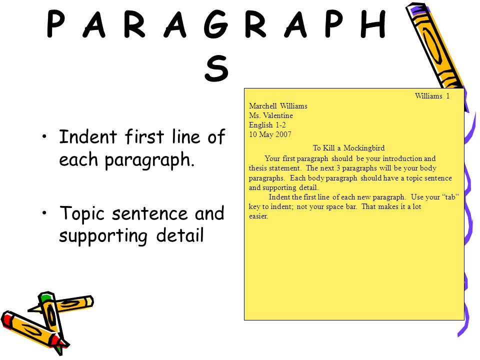 P A R A G R A P H S Indent first line of each paragraph. Topic sentence and supporting detail Williams 1 Marchell Williams Ms. Valentine English 1-2 1