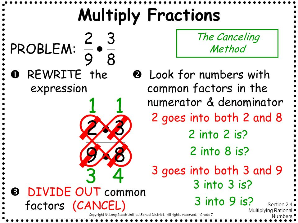 Copyright ©, Long Beach Unified School District. All rights reserved. - Grade 7 Multiply Fractions PROBLEM: REWRITE the expression Look for numbers wi