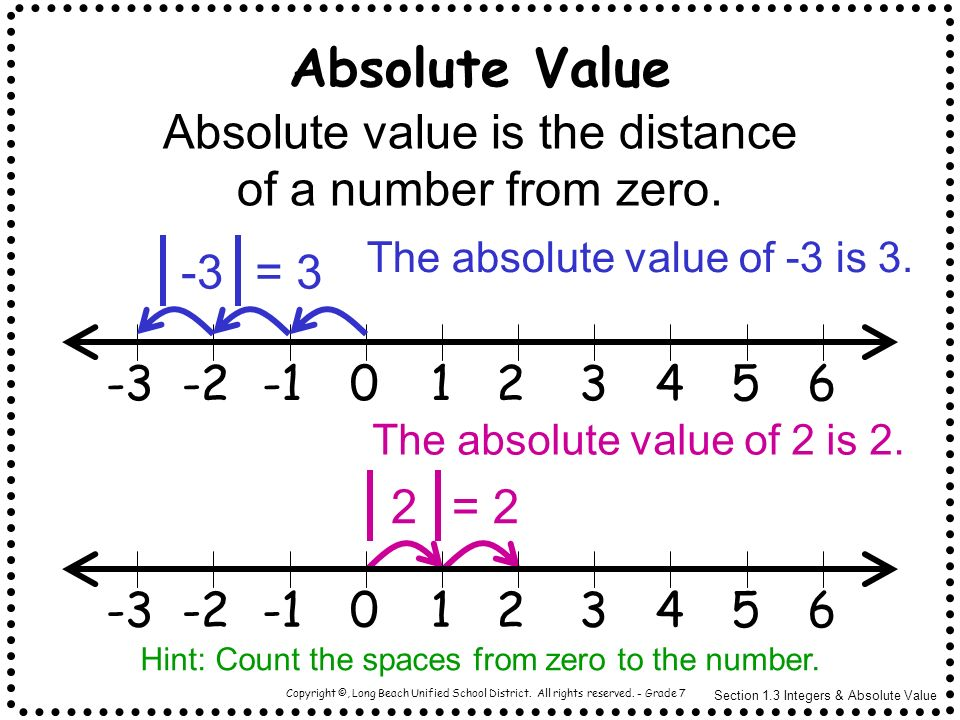 Copyright ©, Long Beach Unified School District. All rights reserved. - Grade 7 Absolute value is the distance of a number from zero. The absolute val