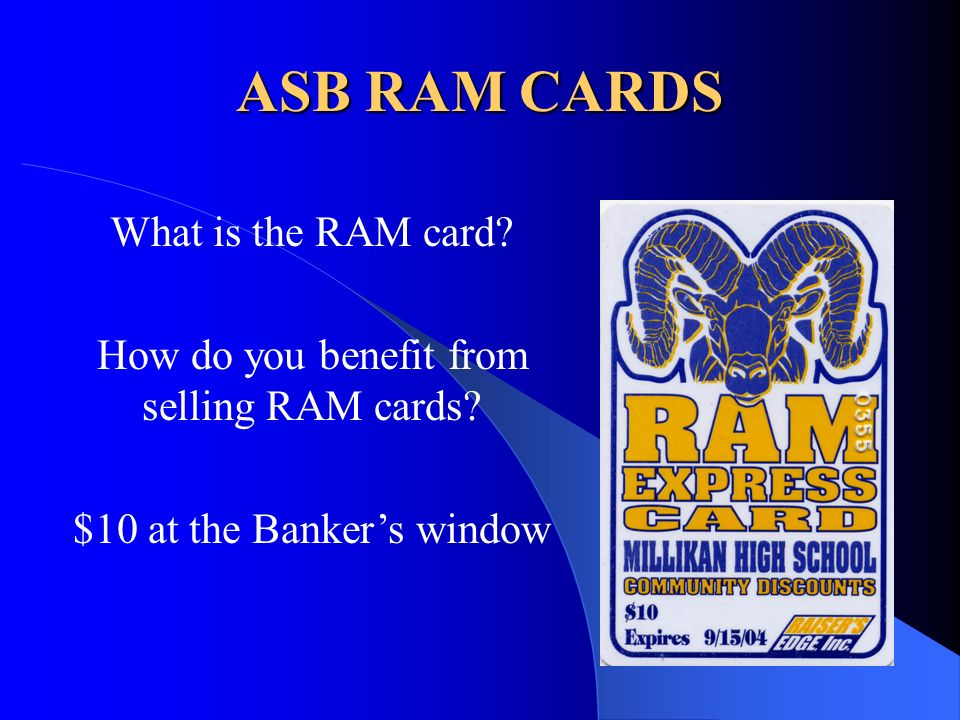 ASB RAM CARDS What is the RAM card. How do you benefit from selling RAM cards.