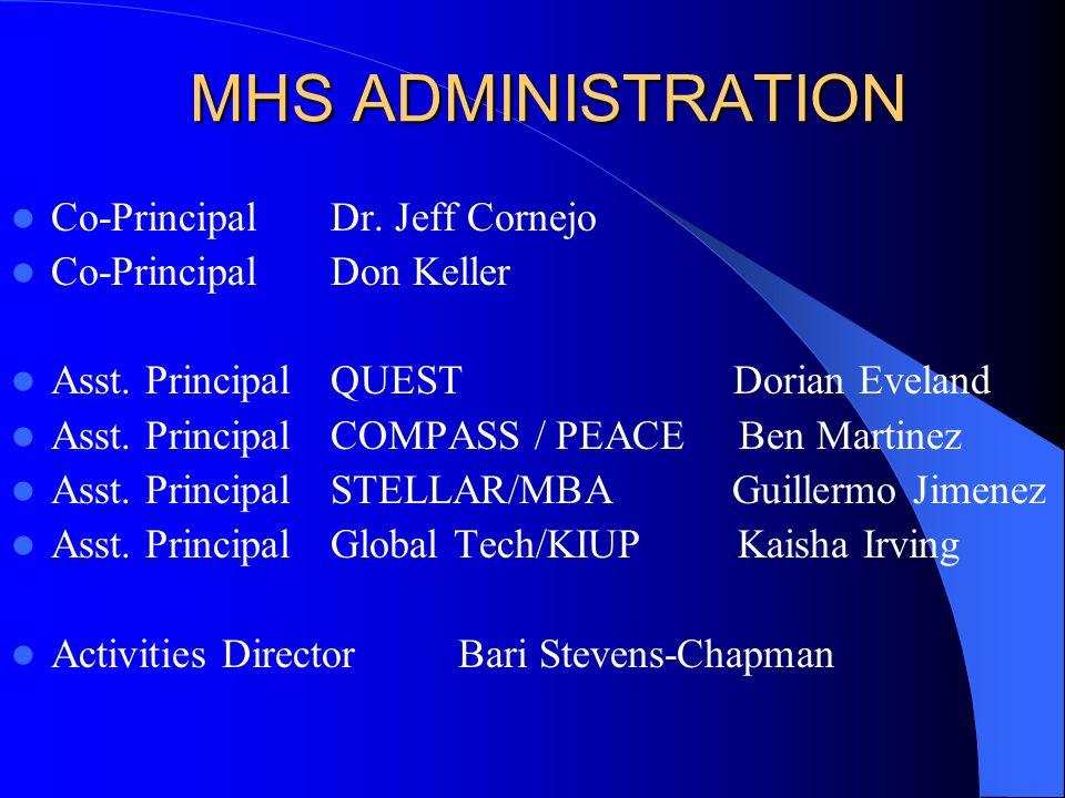 MHS ADMINISTRATION Co-PrincipalDr. Jeff Cornejo Co-PrincipalDon Keller Asst.