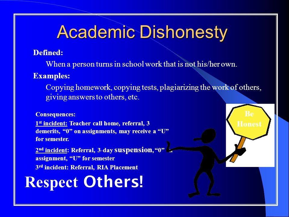 Academic Dishonesty Defined: – When a person turns in school work that is not his/her own.