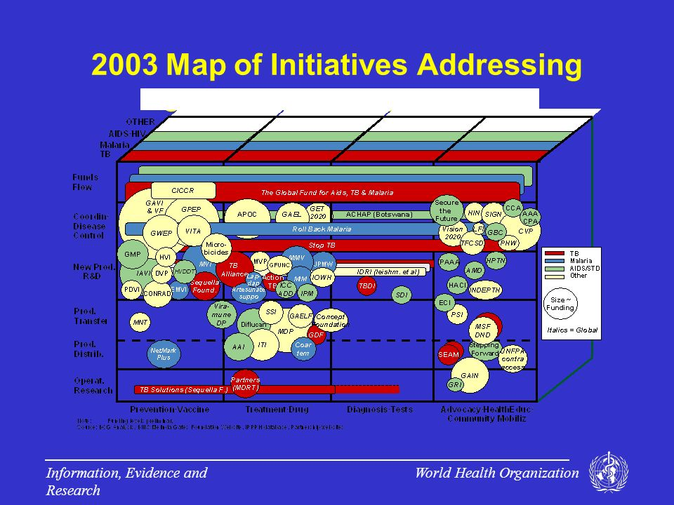 World Health Organization Information, Evidence and Research 2003 Map of Initiatives Addressing Communicable Diseases