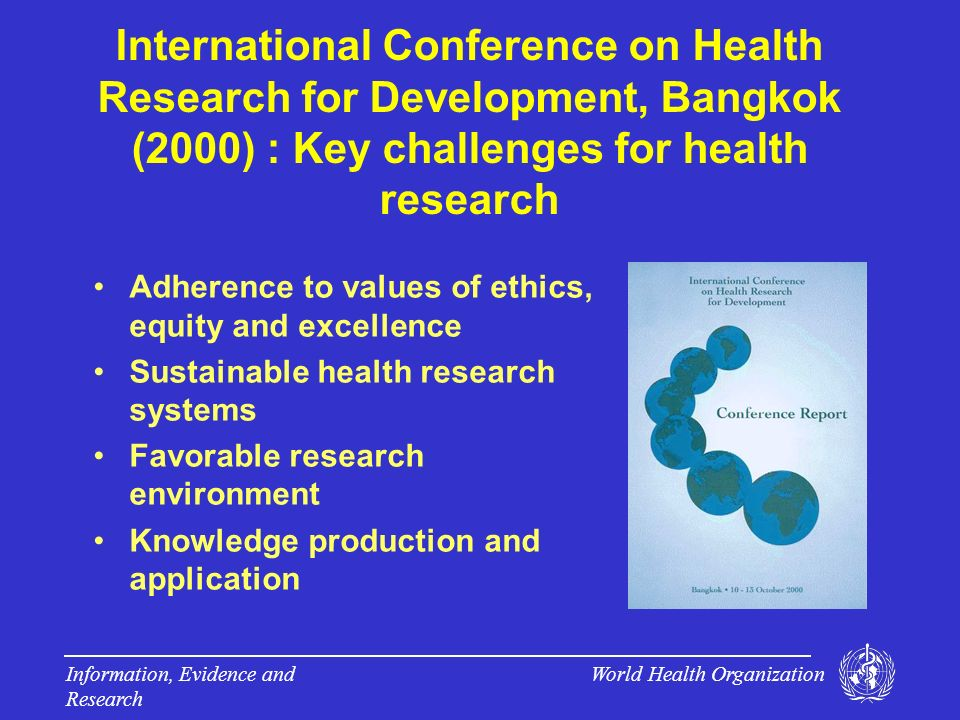 World Health Organization Information, Evidence and Research Ministerial Summit on Health Research, Mexico (2004) : Key messages More investments in health systems research Better management of health research Secure public confidence in science Stronger emphasis on turning knowledge into actions to improve people s health