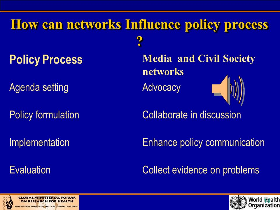18 How can networks Influence policy process .