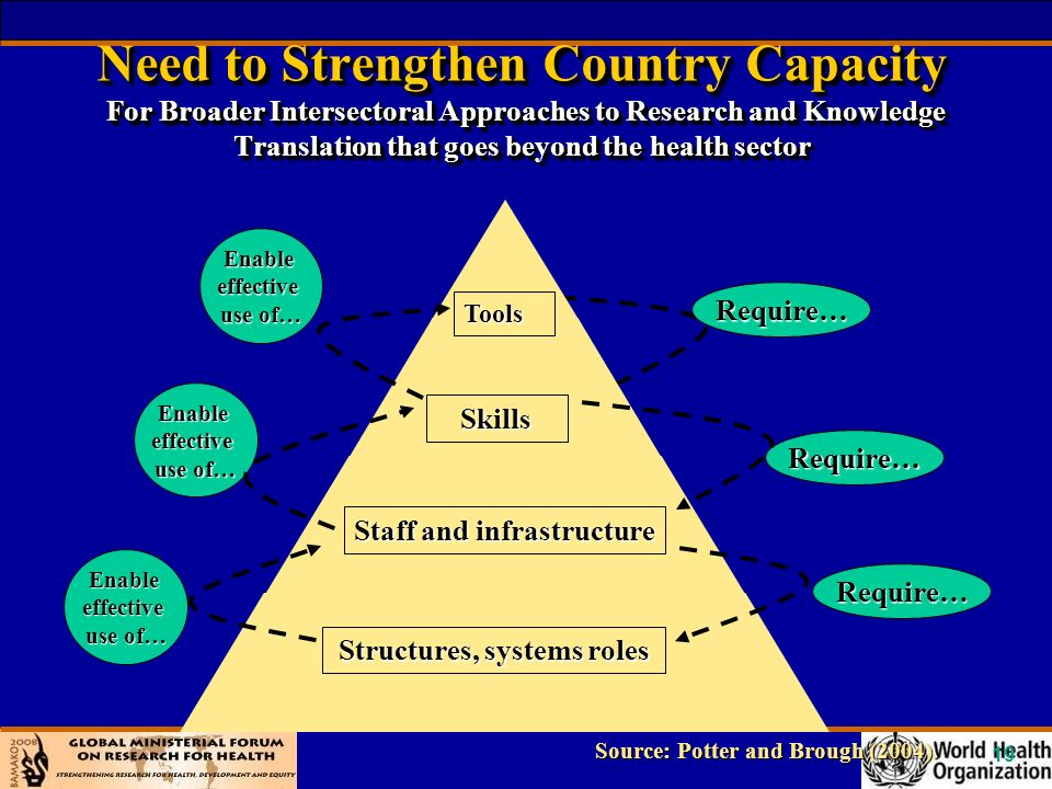 19 Need to Strengthen Country Capacity For Broader Intersectoral Approaches to Research and Knowledge Translation that goes beyond the health sector Source: Potter and Brough (2004).