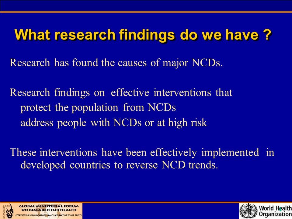 5 What are the evidence informed NCD Policies .