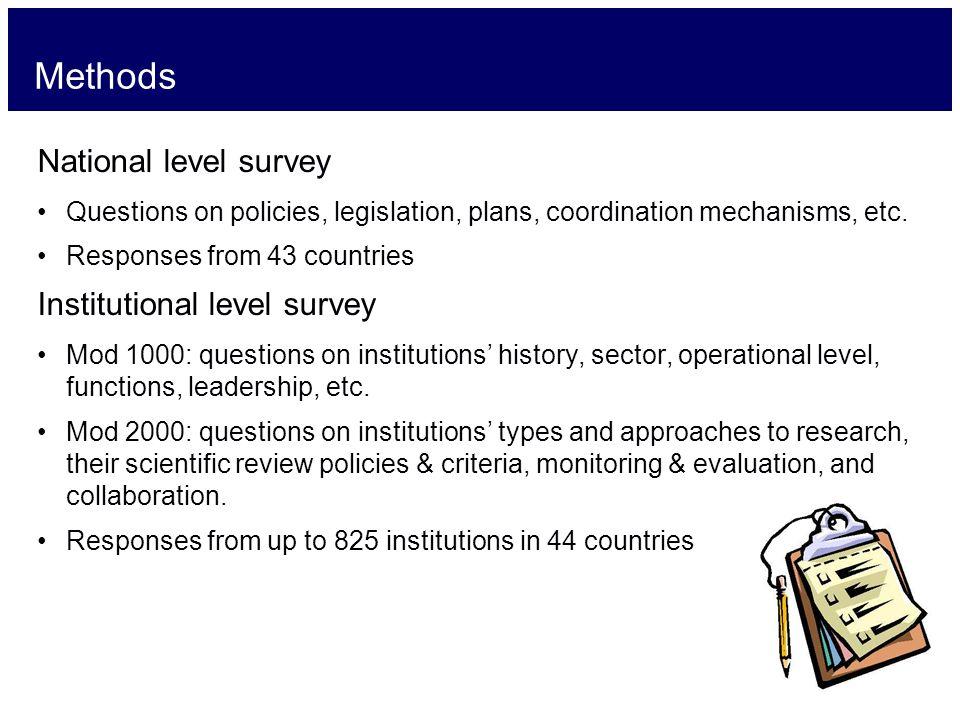 Methods National level survey Questions on policies, legislation, plans, coordination mechanisms, etc.