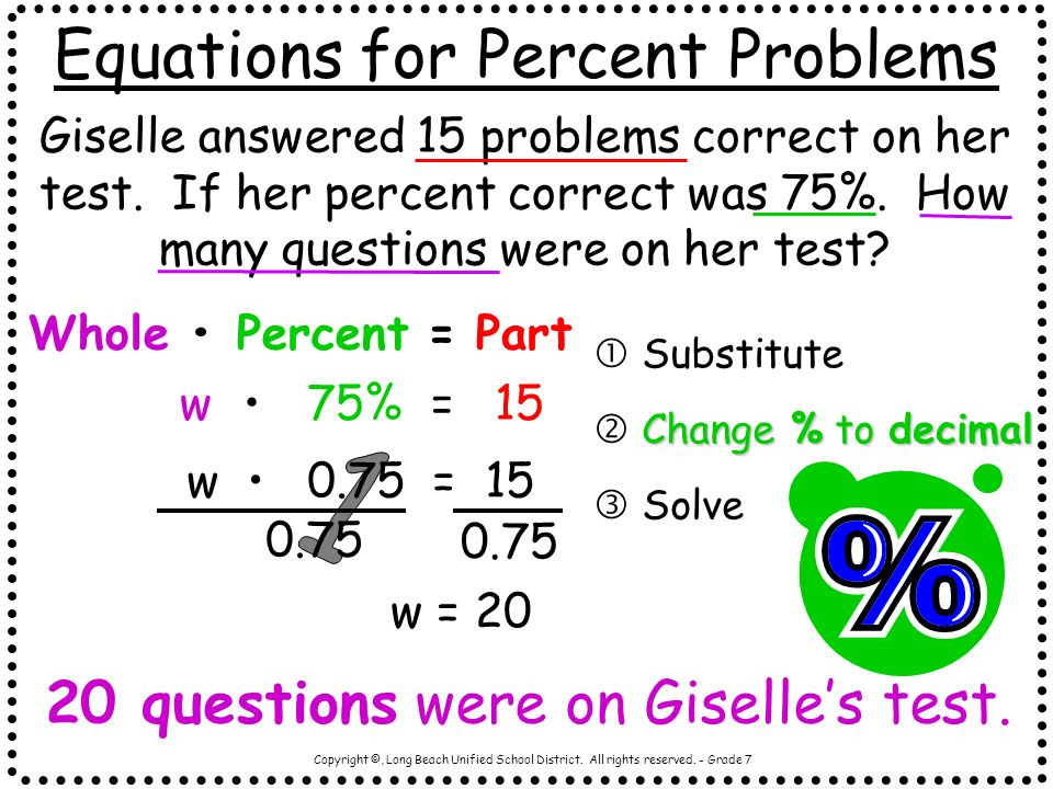 Copyright ©, Long Beach Unified School District. All rights reserved. - Grade 7 Equations for Percent Problems Giselle answered 15 problems correct on