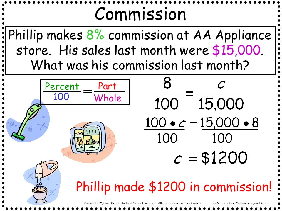 Copyright ©, Long Beach Unified School District. All rights reserved. - Grade 7 Commission Phillip makes 8% commission at AA Appliance store. His sale