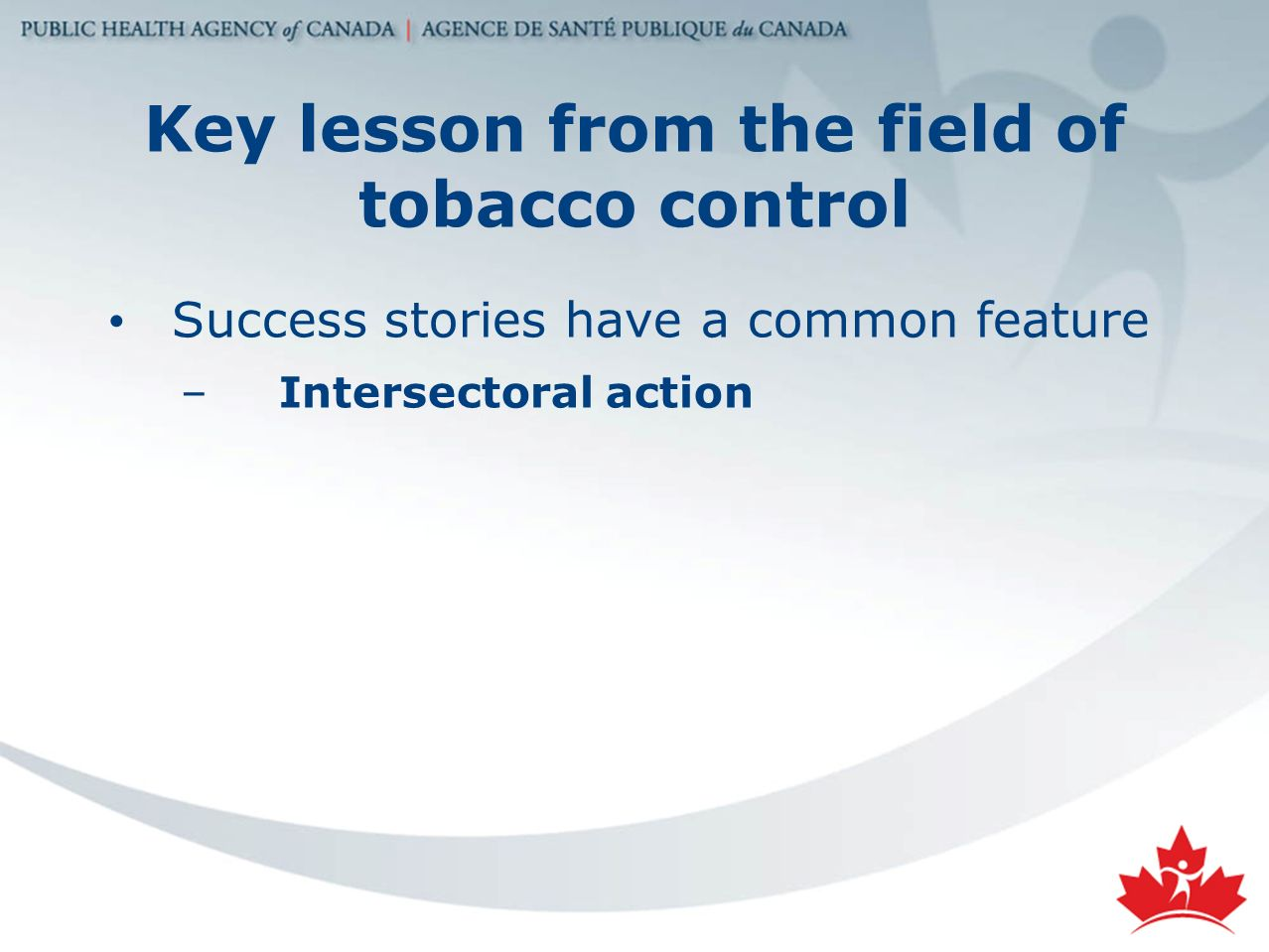 Key lesson from the field of tobacco control Success stories have a common feature –Intersectoral action