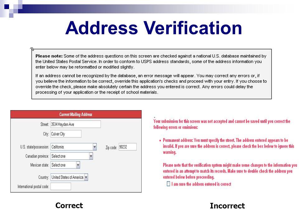 Correct Incorrect Address Verification