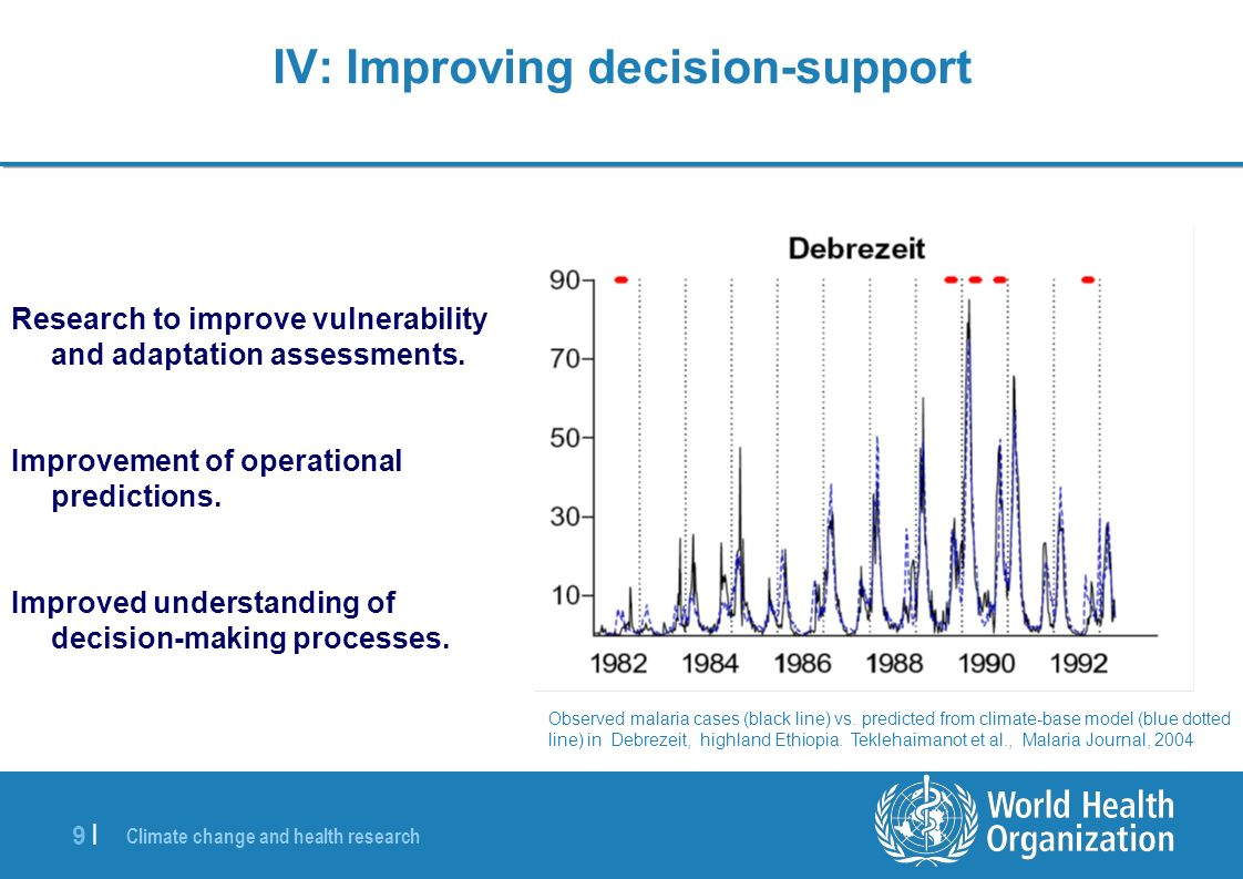 Climate change and health research 9 |9 | IV: Improving decision-support Research to improve vulnerability and adaptation assessments.