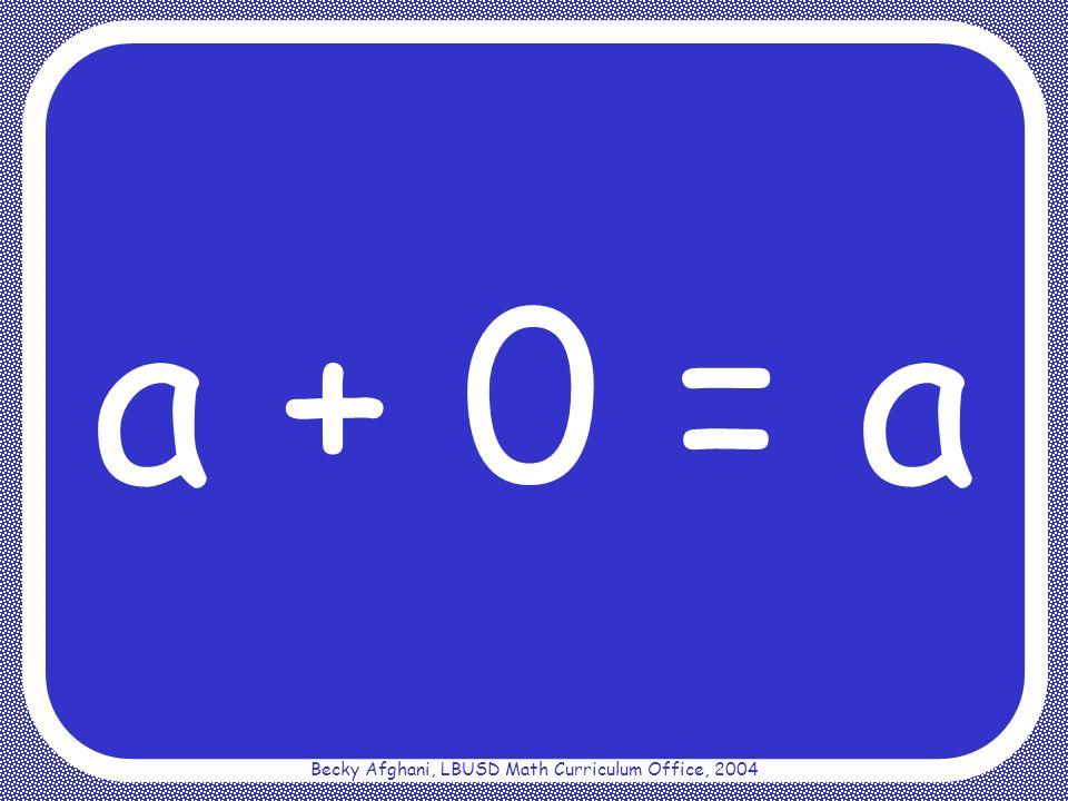 Becky Afghani, LBUSD Math Curriculum Office, 2004 Multiplicative Identity Property a 1 = a