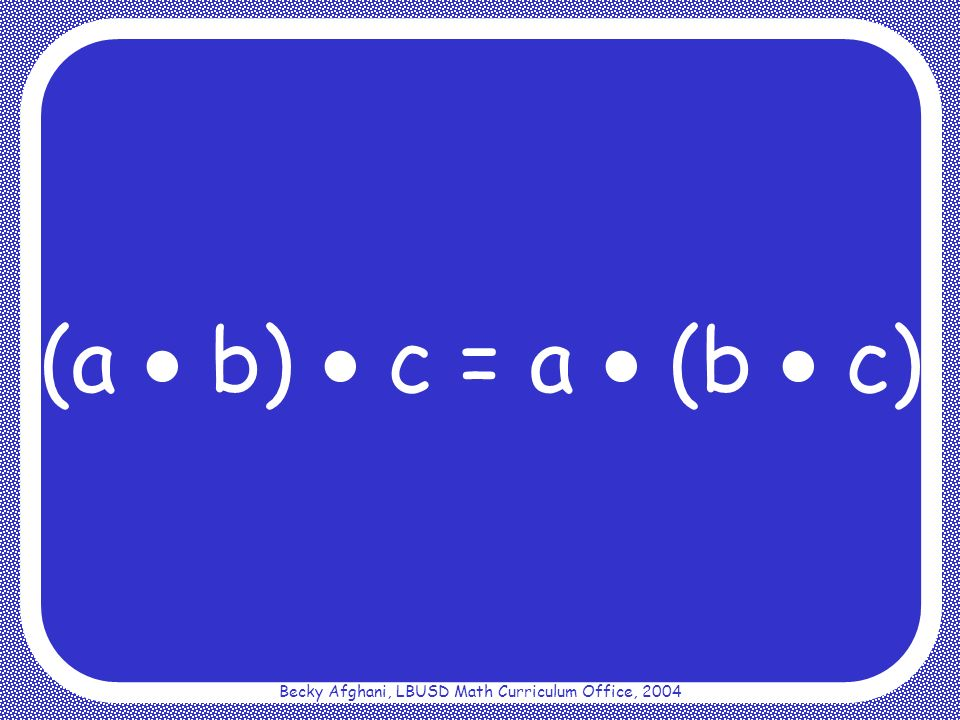 Becky Afghani, LBUSD Math Curriculum Office, 2004 Additive Identity Property a + 0 = a