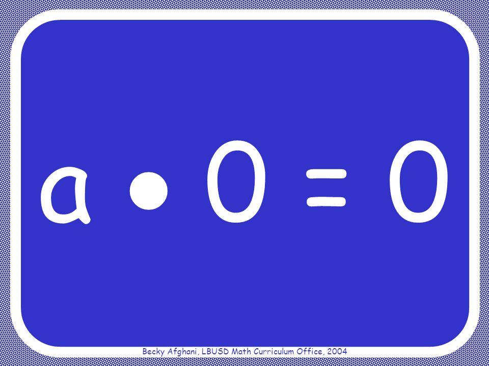 Becky Afghani, LBUSD Math Curriculum Office, 2004 Distributive Property a(b + c) = ab + ac