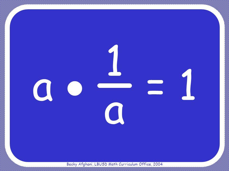 Becky Afghani, LBUSD Math Curriculum Office, 2004 Multiplicative Property of Zero a 0 = 0
