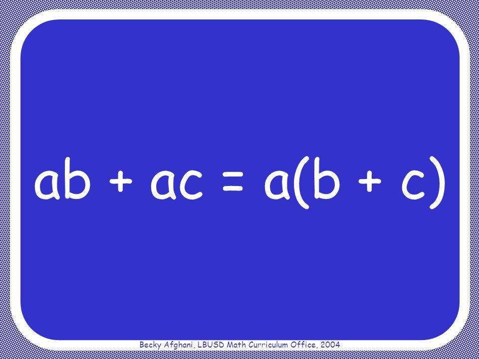Becky Afghani, LBUSD Math Curriculum Office, 2004 Commutative Property for Addition a + b = b + a