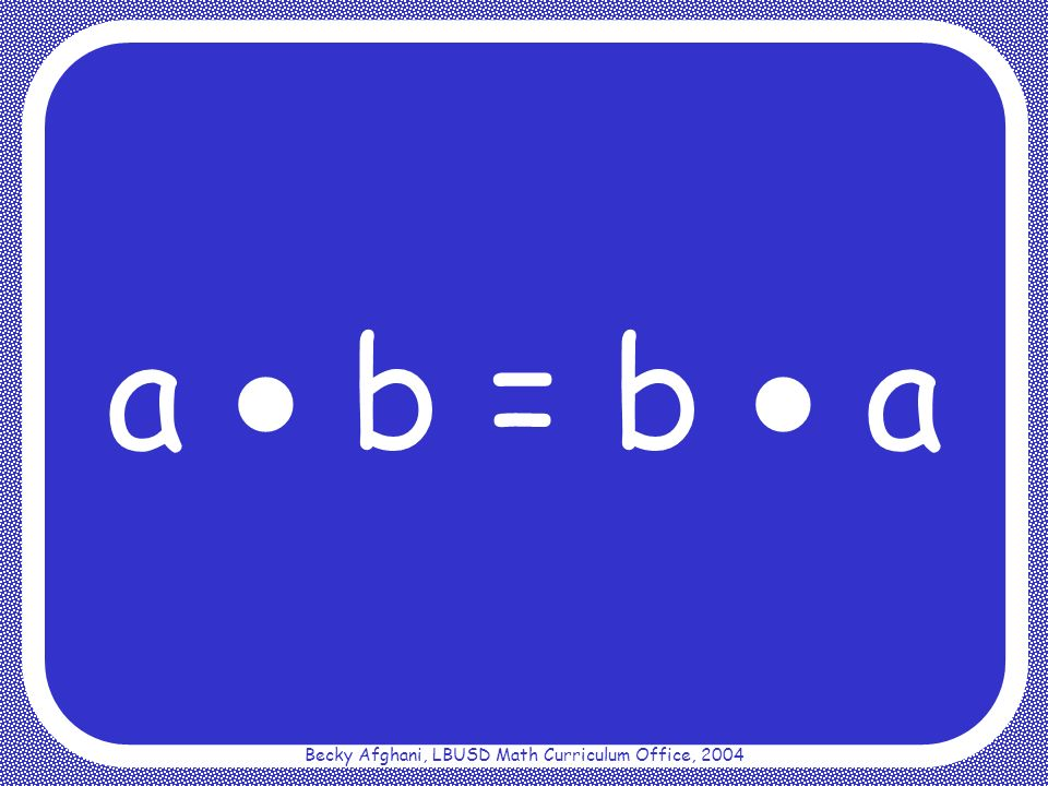 Becky Afghani, LBUSD Math Curriculum Office, 2004 Distributive Property ab + ac = a(b + c)