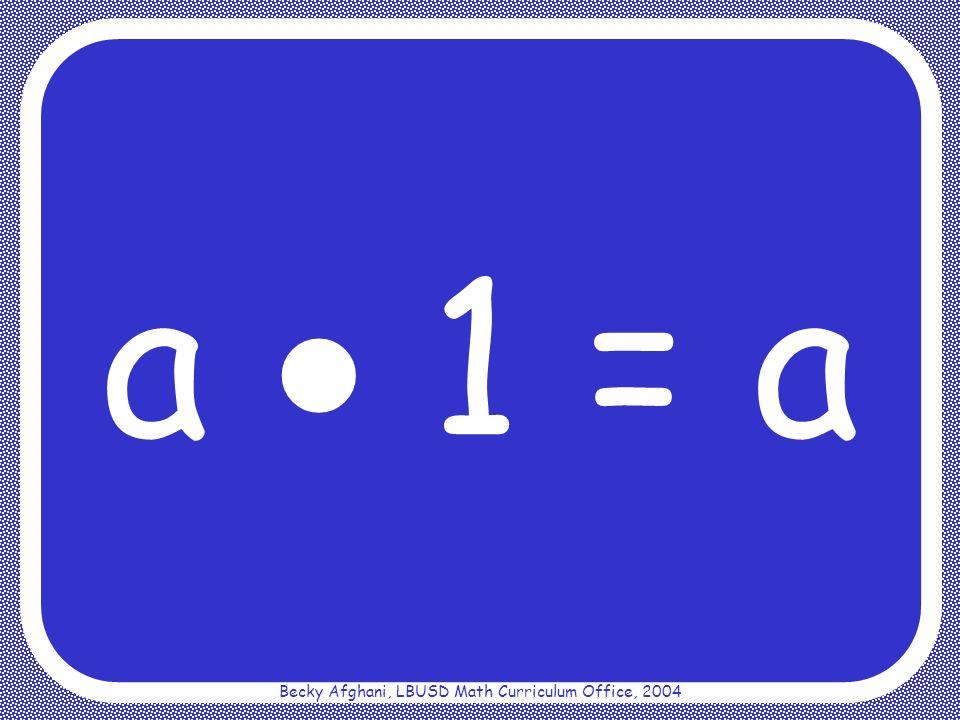 Becky Afghani, LBUSD Math Curriculum Office, 2004 Commutative Property for Multiplication a b = b a